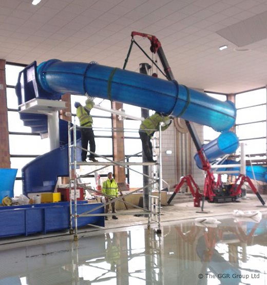 Mini Crane Makes A Splash At Water Slide Installation Job