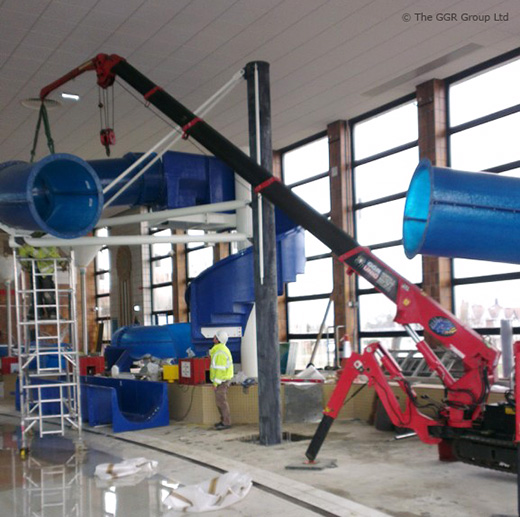 Mini Crane Makes A Splash At Water Slide Installation Job Unic Cranes Europe