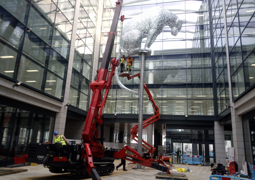 Our mighty URW-1006 helped install this Leopard Sculpture by Andy Scott in Scotland