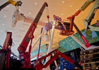 Our Iceland dealer used one of their URW-295 cranes to install a ride inside a shopping centre