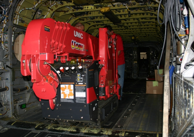 This URW-295 mini spider crane easily fit into this US Army Chinook helicopter