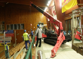 This URW-547 mini spider crane was perfect for working at this basketball court